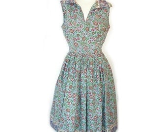 Vintage 1940's Peck & Peck Cotton Floral Day Sun Dress