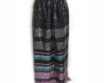 Vintage 1970's Multi Colored Sequined Maxi Skirt