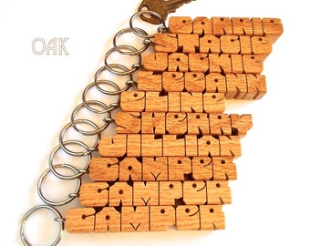 SPECIAL, 10 Wood Name Keychains, Custom Carved to Order, Choice of 4 Woods