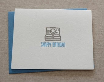 Letterpress Snappy Birthday Camera Card and Envelope