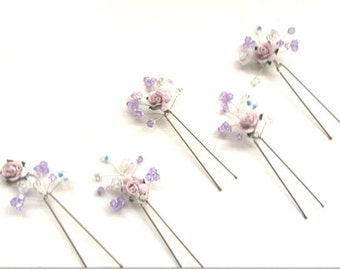 Bridal hair accessories, bridesmaids hairpins, wedding hair accessories, New 5 handmade rose swarovski crystal hairpins