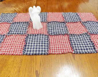 Homespun Rag Quilt Table Runner - Plaids - Checks - Rustic - Primitive - Table Decor - Red Blue