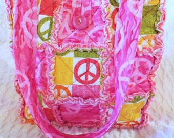 Rag Quilt Tote - Pink Peace Tote - Peace Signs Tote - Colorful Peace Tote - Rag Quilt Handbag