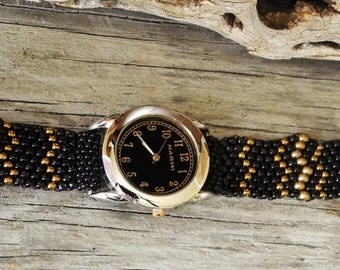 Father Time Black Face Gold Numbers - Free Form Peyote Stitch Beaded Watch Bracelet