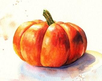 Original still llife watercolor painting, Mini Pumpkin