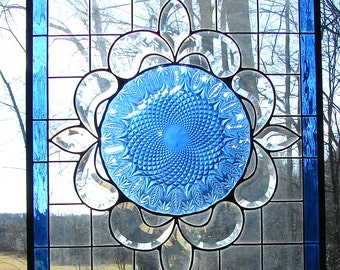 stained glass panel Large Blue Feathers  21 x 24