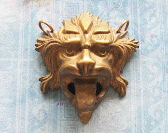 Screaming Gargoyle Escutcheon Pendant Antique Brass Jester Joker Medieval Figural Jewelry Repurpose Hardware Amulet