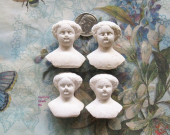Antique German Doll Head Part Lot Mini Frozen Charlotte Day of the Dead Gothic Relic Art Jewelry Halloween Mummy Girl Assemblage