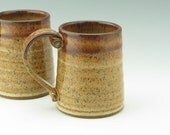 Pottery Tavern Beer Tankard Ready to Ship - Honey Brown and Leopard Stoneware Beer Stein 16oz, Large Coffee Mug Gift for Him