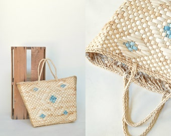 Vintage Straw Bag --- 1970s Straw Purse