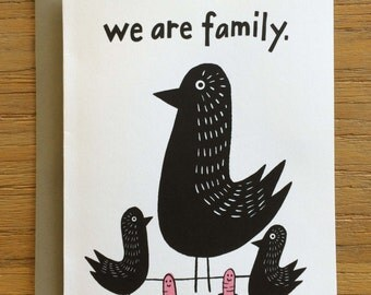 Folk Art Black Birds A2 Greeting Card – We Are Family