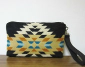 Wrist Bag Clutch Bag Purse Rancho Arroyo Wool Removable Black Leather Strap Southwest Style