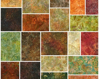 "Lunn Studios SEASONS BATIKS Precut 5"" Charm Pack Fabric Quilting Cotton Squares Robert Kaufman CHS-430-42"