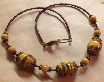 Rustic Handcrafted - Mustard Quartzite Gemstone Necklace - Brass - Simple Beaded Necklace - Free U S A Shipping