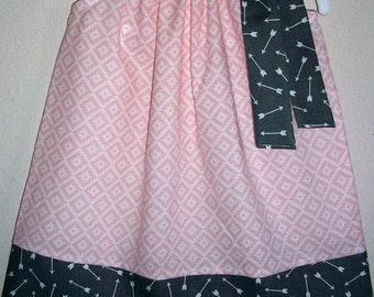 Girls Dress with Arrows Aztec Dress Pillowcase Dress Pink and Grey Dress Girls Dresses for Spring Dress Trendy Baby Clothes Kids Clothes