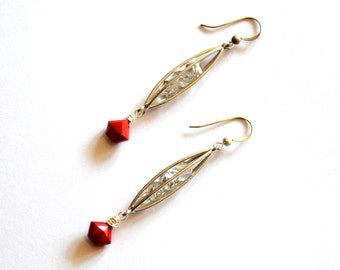 Silver Cage Earrings / Silver Caged Vintage Red Gems with Swarovski Crystals / Silver Red Cage Modern Geometric Earrings