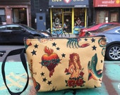 "Cotton Tattoo Print Wristlet, Cotton 7"" Swinger pouch, Cosmetic Make Up Bag."