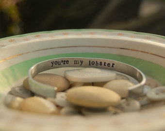 Handstamped Hidden Message Narrow  Cuff Bracelet - Personalised - Secret Message - Gift for Her