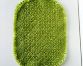 vintage mid century modern lime chartreuse green wool knit placemat set kitchen table serving home decor