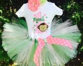 Baby Girl 1st Birthday Outfit - Monkey Birthday Tutu Set - Girl Birthday Outfit - Cake Smash Photo Prop