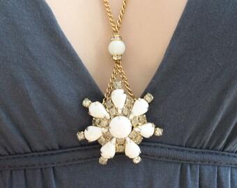 Large White Stone Necklace White Pendant Vintage Jewelry Long Necklace White Necklace