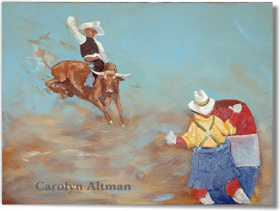 Wild Bull Rider Painting