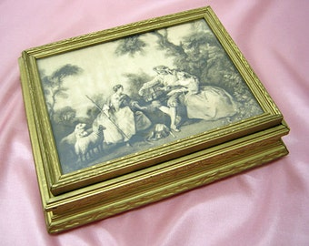 Antique Wood Vanity Box RESTORED-Pastoral Scene Picture Lid-New Lining