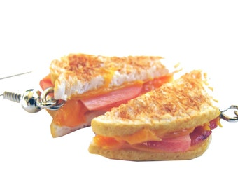 Ham and Cheese Earrings - Grilled Cheese Earrings - Ham and Cheese - Ham - Cheese - Cheese Lover - Bacon - Sandwich earrings