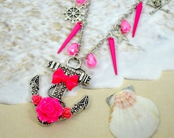 MY LOVE At SEA- Silver Anchor with Pink Roses and Bow Charm Necklace with Spikes, beads and silver sea charms