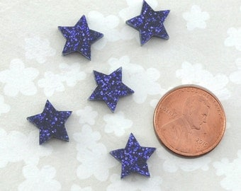 PURPLE GLITTER STARS - Set of 5 Cabochons in Laser Cut Acrylic