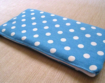 Polka Dots Bright on Baby Blue - Pencil Case, Cash Wallet, Clutch, Bag Large Zippered Pouch - Flat - Ready to Ship
