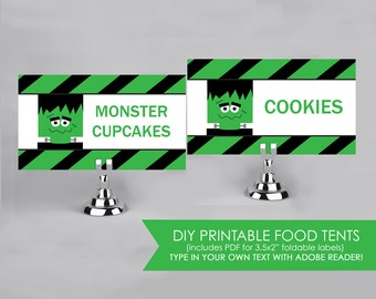 Frankenstein Halloween - Green and Black - Food Labels - Printable DIY with fully editable text