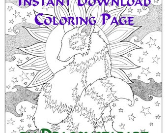 Fox Coloring Page Instant Download