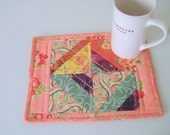 Quilted Mug Rug Snack Mat Candle Mat Plant Mat Large Coaster Table Mini-Mat Basket Liner XL Hot Pad - Hostess Gift - Peach, Salmon, Purple