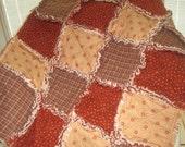 FlASH SALE Baby Rag Quilt, Quilted Baby Blanket, Crib Quilt, Baby Bedding, Nursery Bedding - Stroller Size - Plaid Homespun & Stars - Ready
