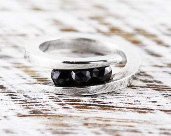 Black Diamond Ring 14k White Gold Engagement Ring Womens Rings