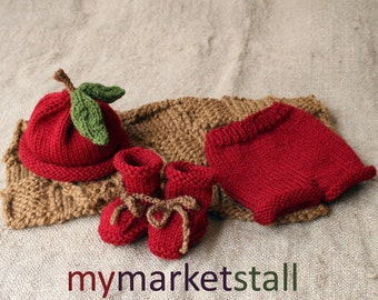 Apple Hat, Booties and Short Pants - 0-3 Months - Ready to Ship