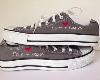 wedding CONVERSE custom hand embroidered shoes, monogramed, custom wedding, bridesmaid, wedding party, just for fun,