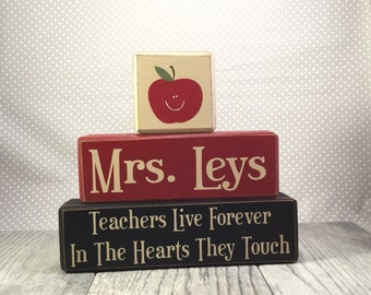 distressed wood sign TEACHERS Live Forever In The Hearts They Touch personalized wood sign blocks primitive rustic country
