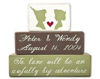 Peter pan and wendy darling wedding decor custom stacking wood blocks primitive sign blocks Peter Pan wedding personalized gift custom
