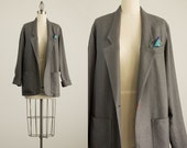 20% Off With Coupon Code! 90s Vintage Charcoal Gray Slouchy Blazer Coat  / Size Small / Medium
