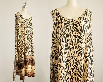 90s Vintage Sienna And Black Safari Print Tunic Sun Dress / Size Large / Extra Large