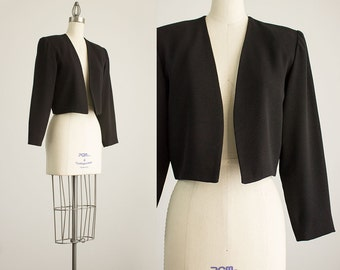 90s Vintage Nicole Miller Black Evening Dress Bolero Jacket / Size Small