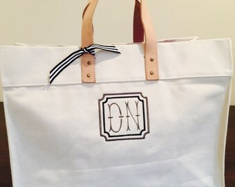 Canvas Monogrammed Beach Bag Pool Tote Gift Bag Personalized Custom Embroidery