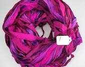 Sari silk Ribbon, Recycled Silk Sari Ribbon, sari ribbon, plum sari ribbon, plum silk ribbon