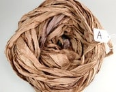 Silk Sari Ribbon, recycled sari ribbon, Sari Silk Ribbon, Sari ribbon, brown sari ribbon, brown ribbon, silk ribbon,