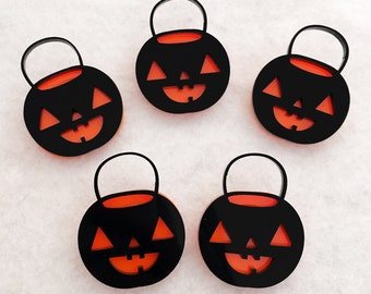 Pumpkin Pail Brooch - Jack O Lantern Halloween Acrylic Pin