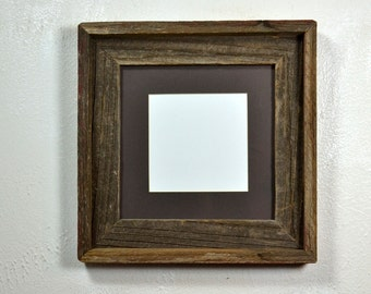 Rustic picture frame 8x8 with dark brown mat for 5x5 or 6x6