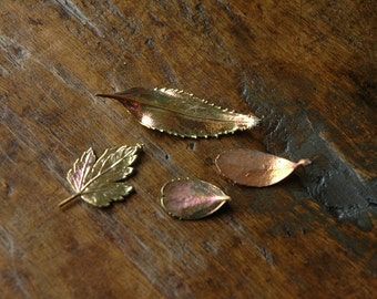 4 Copper Dipped Real Leaves, for Jewelry, Fall Decor, Art Supply, Electroplated Leaves, Nature Gift