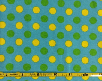 """NEW Lime, turquoise and yellow dots cotton lycra knit fabric 95/5 58"""" wide."""